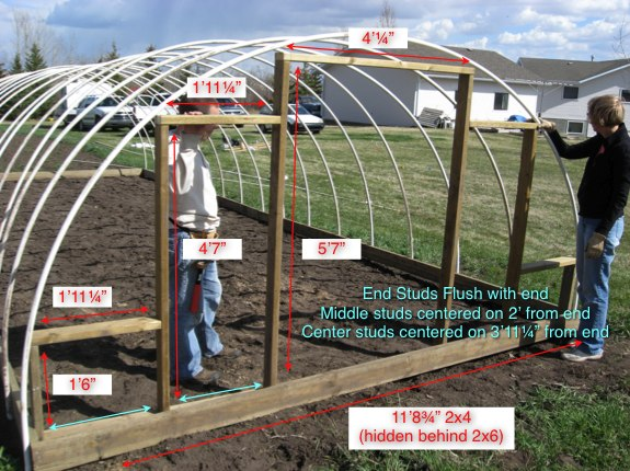 How to build an inexpensive hoop style greenhouse alberta home step 3 building the ends solutioingenieria Gallery
